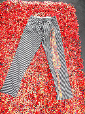 Mens Boys 50S Vintage 28W Trousers Pleats  Gc Buttons  Striped Am Dram Morning
