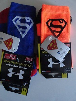 NWT Under Armour Boy's YOUTH Large Superman Crew Socks 2 Pairs Size 1-4