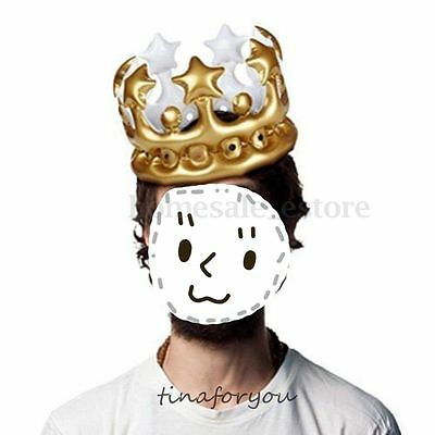 Inflatable Gold Crown - King Queen For The Day Costume Party Halloween Birthday