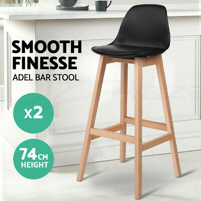 2x Oak Wood Bar Stools Wooden Dining Chairs Kitchen Side Padded Black 3601