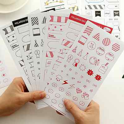 6sheets Calendar Paper Sticker Scrapbook Diary Planner Photo Decor DIY