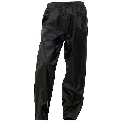 Unlined Motorcycle Motorbike Waterproof Nylon Over Trousers Pants Black