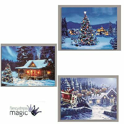 40 x 30cm Canvas LED lights Battery Operated Christmas Colour Changing Wall Art