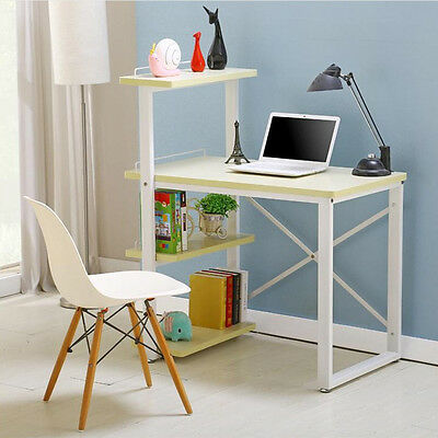 Modern Home Office Desk Corner Computer PC Table Worksation with Bookcase Shelf