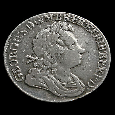 1723 George I Early Milled Silver SSC Shilling – AVF / VF