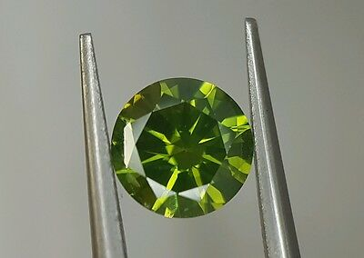 0.78 Ct Round Fancy Color Enhanced Green Diamond Loose Stunning Clean Deal