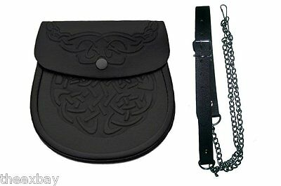 Dbl Embossed Scottish Black LEATHER Kilt SPORRAN & Belt Celtic Keltic