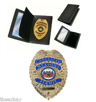 ENGRAVED MODEL Concealed Weapons Permit Metal Badge & Wallet  Gold