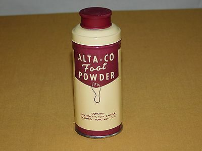 Vintage Made In Usa Old Dolge  Alta-Co Foot Powder Full 2 Oz Tin Can Unused