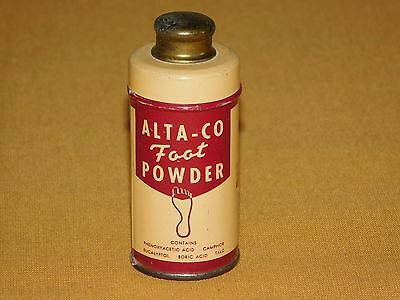 VINTAGE MADE in  USA OLD DOLGE  ALTA-CO FOOT POWDER  1/2 OZ TIN CAN MOSTLY FULL