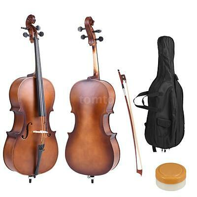 4/4 Full Size Solid Wood Cello Matte Finish Basswood Face Board with Bag M0W9
