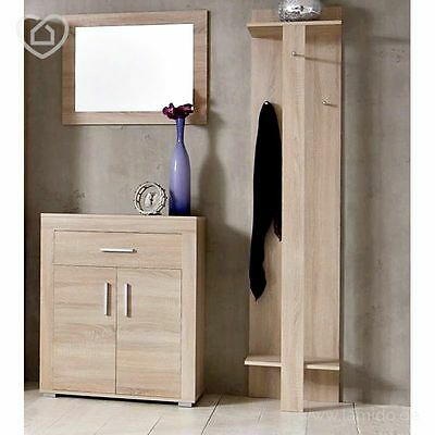 garderoben set eiche sonoma schuhschrank spiegel paneel flur garderobe kommode eur 229 00. Black Bedroom Furniture Sets. Home Design Ideas