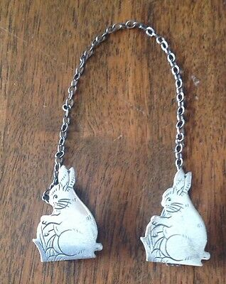 Antique Webster Sterling Bunny Rabbit Baby Bib Clips Holder Sweater Guard
