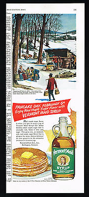 1951 Vermont Maid Syrup 1850 Maple Sugaring Off Party Pancake Feb. 6th Print Ad