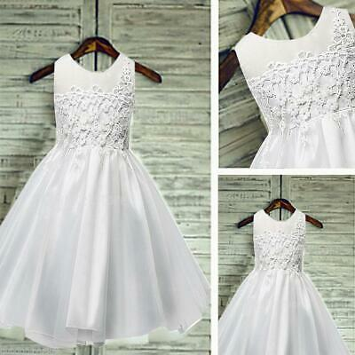 Vintage Flower Girl Kid Lace Dress Princess Special Occasion Wedding Party