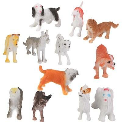 Lot 12 pcs Plastic Animals Small Pet Dogs Figurines Model Collection Toy Gift