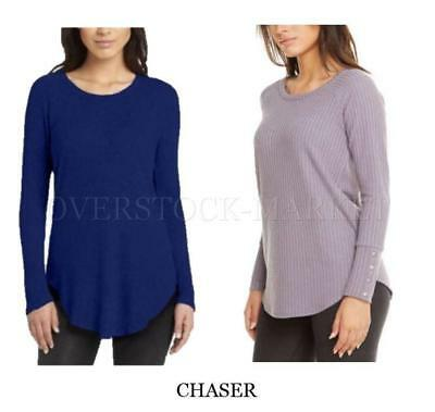 New Women's Chaser Long Sleeve Thermal Basket Weave Shirt! Shirttail Hem Variety