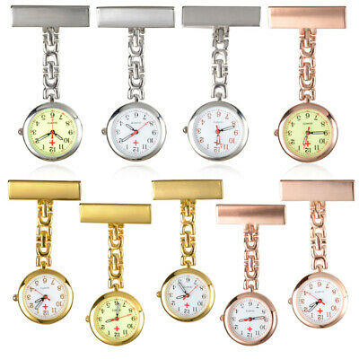 Stainless Steel Doctor Nurse Brooch Fob Clip-on Quartz Pin Pendant Pocket Watch