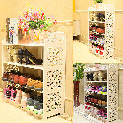 4/5 Tier Display Shoes Storage Organizer Rack Stand Shelf Holder Unit Shelves UK