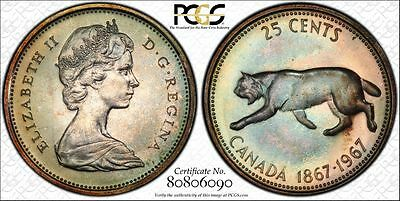 Canada 25c Cents Quarter 1967 MS67 PL PCGS silver KM#68 Gem Rainbow Proof Like