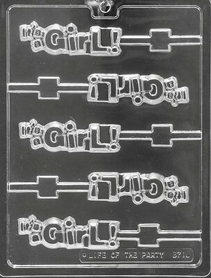 It's A Girl Lollipop Chocolate Candy Mold Molds Diy Baby Shower Party Favors Lop