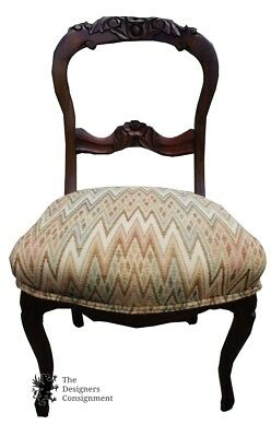 Antique Victorian Walnut Balloon Back Carved Parlor Accent Chair Upholstered
