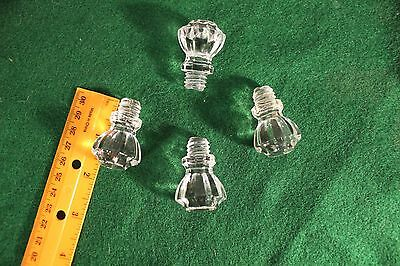 Vintage Clear ALL Glass Screw in Knobs (4)
