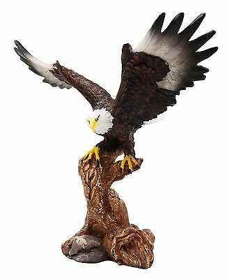 "7"" Tall Majestic Bald Eagle Descending On Tree Branch Decorative Figurine"