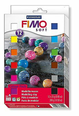 Staedtler Fimo Soft Oven Hardening Modelling Clay - Assorted Colours, 12 x 25g