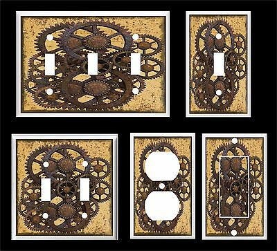 Rusty Steampunk Gears Light Switch Cover Plate 2 U Pick  Plate Size