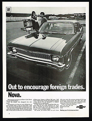 1969 Chevrolet Nova Coupe Car Photo Foreign Trade Vintage Print Ad
