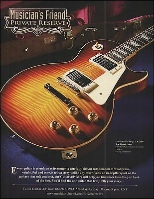 Private Reserve Gibson Custom '59 Les Paul Guitar ad 8 x 11 advertisement print