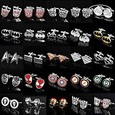NEW Super Hero Cufflinks Mens Wedding Novelty Superhero Cuff Links In Stock Gift