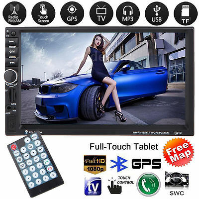 "7"" 2 DIN GPS Navigation Car Stereo MP5 Player Bluetooth Touch USB FM Radio+Map"