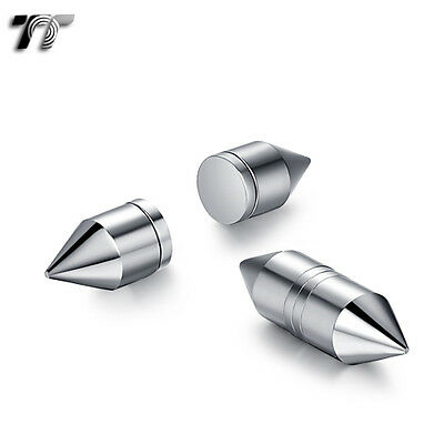 TT Silver Stainless Steel Bullet Magnet Fake Ear Plug Earrings (BM15S) NEW