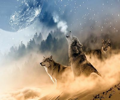 Wolves Howling At The Moon Computer Mouse Pad 9 X 7