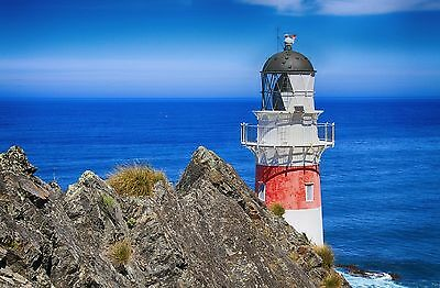 Lighthouse Red And White Ocean Cliff Mouse Pad 9 X 7