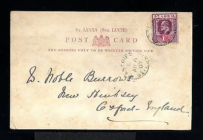 11782-STA.LUCIA-OLD POSTCARD CASTRIES to OXFORD (england).1907.BRITISH.Ste.LUCIE