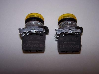 Allen Bradley 800F-N5Y Yellow Illuminated Light Assembly New Lot Of 2