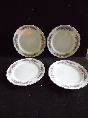 4 Vintage WS George U.S.A. Lido Yellow Bar With Pink Roses Dessert Bread Plates
