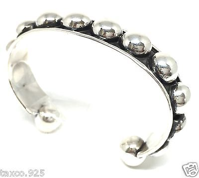 Taxco Mexican 925 Sterling Silver Beaded Beads Cuff Bracelet Mexico