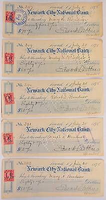 Lot of 5 1898 Newark New Jersey Bank Check US Postage Stamp Used as Revenue