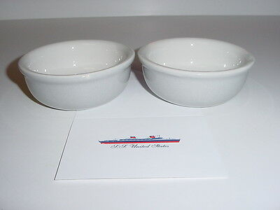 """SS UNITED STATES LINES  Pair of """"Hall China"""" Finger Bowls  /  Perfect Cond."""