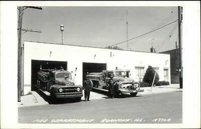 Roanoke IL Fire Department c1960s Fire Engines Real Photo Postcard