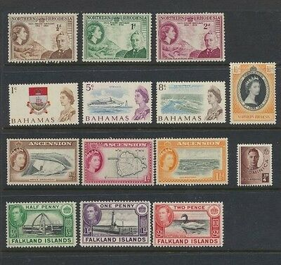 British Colonial Pictorials Vintage Collection 14 Different Mint Never Hinged