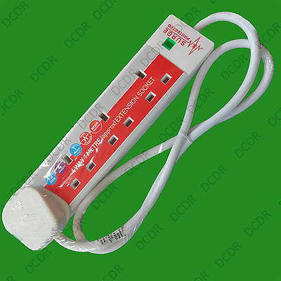 1x 4 Way / Gang, 2 Metre Surge Protected Extension Lead, 13A, White Plug Socket