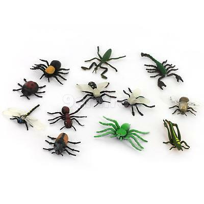 12 Plastic Bugs Insects Spider Ant Scorpion Figure Toy Kids Party Bag Filler