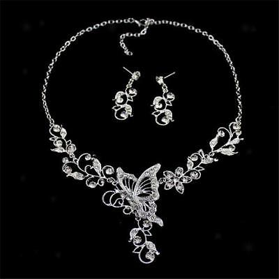 Wedding Bridal Party Diamante Rhinestone Butterfly Necklace & Earrings Set