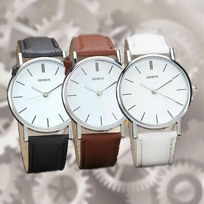 Fashion Mens Women Analog Quartz Wrist Watch Casual Leather Band Strap Watches