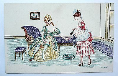 A/S Manni Grosze Risque LADY & Her Maid in the BOUDOIR Unused Scarce Postcard